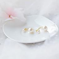 ★银针★光滑珍珠双向耳环